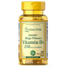 Puritans Pride Vitamin D-3 250 mcg 10,000 IU 100 Softgel (Витамин Д)