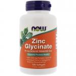 NOW Zinc Glycinate 120 Softgels (Хелатный цинк глицинат)