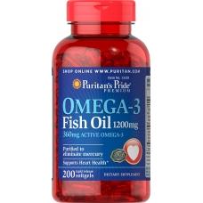 Puritan's Pride Omega-3 Fish Oil 1200 mg 200 капсул